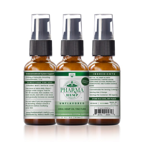 Hemp CBD Oral Spray/Tincture 2oz 550mg - Unflavored